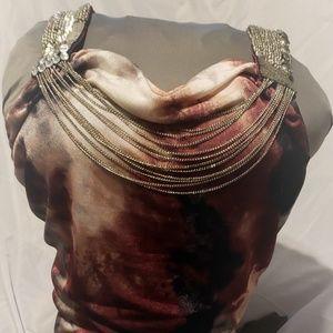 Bisou Bisou Women's Sequin & Chain Top. Burgundy